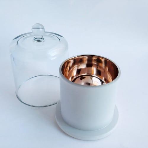 MATT WHITE ROSE GOLD AND GLASS CLOCHE COVER. DELUXE METRO
