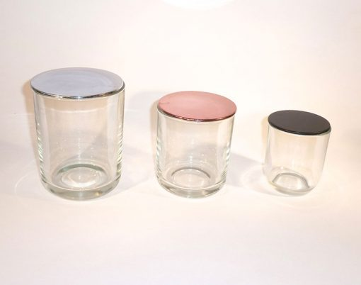 Clear republic candle glass set with plastic lid