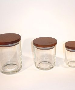 Clear republic candle glass jar Set with Golden Oak lid