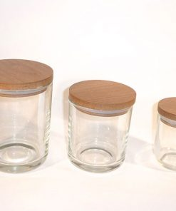 Clear republic candle glass jar Set with natural wood lid