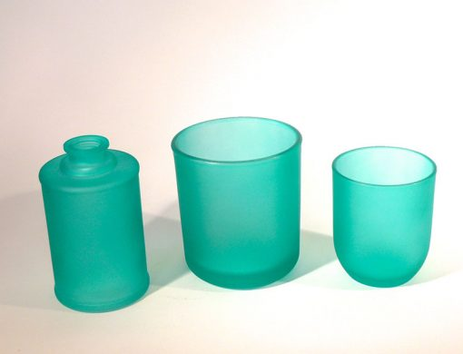 Frosted mint candle glass