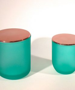 Frosted mint candle glass with plastic lid
