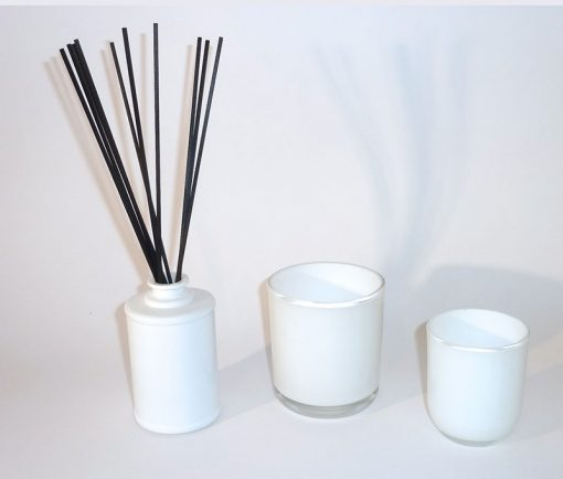 Modern, light and fresh candle glass jars